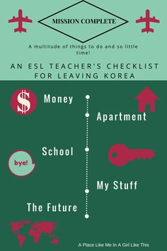 My checklist for ESL teachers leaving Korea after completing your contract.
