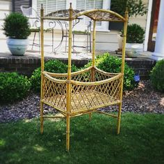 HOLD for payment Vintage Bamboo & Rattan Baby Bassinet on Casters with Removable Canopy - Modern Rattan, Wicker, Cane Furniture, Baby Bassinet, Or Antique, Hanging Chair, Canopy, Bamboo, Hold On