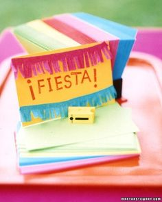 Invite guests to your party with these festive cards. Glue crepe-paper fringe to blank notecards for invitations; use rubber stamps to state the occasion.