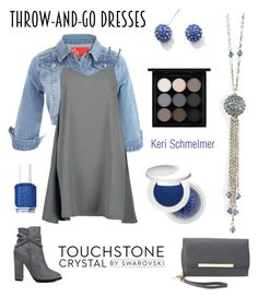 """""""#throwandgodresses #easypeasy #slipdress"""" by kschmelmer ❤ liked on Polyvore featuring Boohoo, Essie, Touchstone Crystal, Charlotte Russe, Estée Lauder and MAC Cosmetics"""