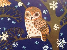 Vintage Christmas Gift Wrapping Paper  Owls by TheGOOSEandTheHOUND, $6.00