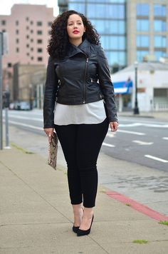 White Blouse with Black Collar + Black Motorcycle Jacket + Black Skinny Jeans + Black Heels + Graphic Clutch = Awesome