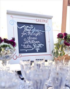 chalk board wedding signs
