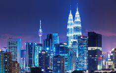 Download wallpapers Kuala Lumpur, Menara KL, 4k, skyscrapers, night, Petronas Towers, modern architecture, Asia, capital, Malaysia