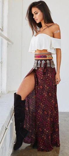 White Crop + Boho Maxi Skirt                                                                             Source