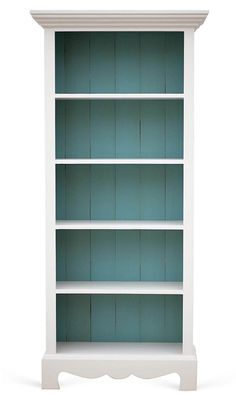 Gray and Turquoise Beach House Bookcase