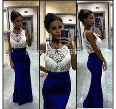 2014 Real Picture Chiffon white and Blue Women's Evening Dresses Women Cheap Long Formal Dreses Custom Made Vestidos De Noche