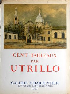 Utrillo Maurice - affiche Mourlot photolithographie - galerie Charpentier 1959