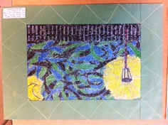 starry night, grade 8 version, using elements (Vertical object, landscape, psychedelic sky), create own version