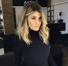 Lob hairstyles blonde balayage hair