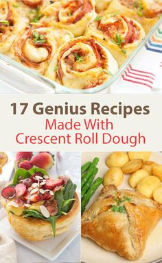 17 Genius Recipes Made with Crescent Roll Dough including Chicken Puffs, Pizza Pinwheels, Chicken Pot Pie Crescent Braid, Jalapeno Popper Crescent Cups, Meatball Sub Cups, Hot Dogs, BBQ Chicken, Pepperoni Pizza Roll Ups, and more!