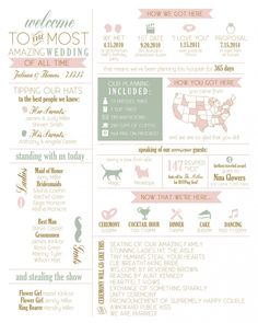 Wedding Program infographic wedding program - fun wedding programs your guests won't miss! These infographic wedding programs include fun details about your ceremony, relationship, family Wedding Ceremony Ideas, Wedding Ceremony Programs, Wedding Tips, Our Wedding, Destination Wedding, Wedding Planning, Dream Wedding, Wedding Venues, Spring Wedding