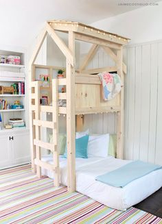 A DIY tutorial to build an indoor playhouse kids loft over a twin bed. Make your kids dreams come true with free plans from Ana White for this awesome loft. Playhouse Loft Bed, Loft Bed Plans, Loft Bunk Beds, Kids Bunk Beds, Kids Indoor Playhouse, Playhouse Plans, Toddler Loft Beds, Toddler Floor Bed, Unique Toddler Beds