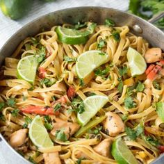 Tequila Lime Chicken Pasta is fun, vibrant, and full of flavor. This easy weeknight dinner is a complete meal with meat, veggies, and pasta all in one dish.