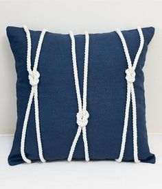 Navy Rope Trimmed Pillow, perfect for a nautical theme room.