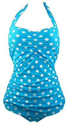 Light Blue Polka Dot One Piece Bathing Suit