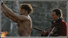 Black Jack playing with Jamie like a wounded bird, poking and hitting him before the flogging,