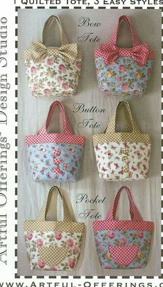 Triple Treat Tote Pattern by Artful Offerings ~ Karina Hittle +It's+a+triple+treat! +Directions+include+designs+for+a+bow+tote,+a+button+tote,+and+a+pocket+tote. Tote Bags Handmade, Diy Tote Bag, Diy Bags, Handmade Purses, Tote Purse, Tote Pattern, Bag Patterns To Sew, Patchwork Bags, Quilted Bag