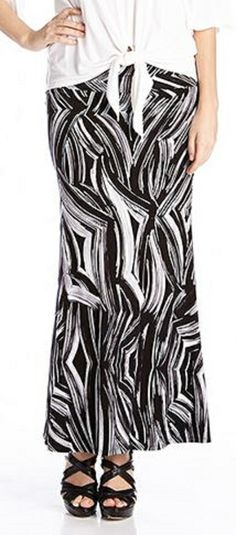 Super Slimming Karen Kane Black and White A-line Maxi Skirt #Karen_Kane #KarenKane #Slimming  #Black_and_White #Maxi_Skirt #Fashion