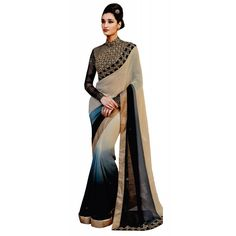Beige and Black Georgette Designer #Saree With Blouse- $47.10