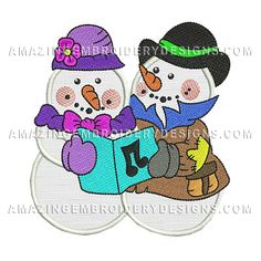 "This free embroidery design is called ""Snowmen""."