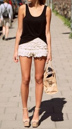 lace shorts, black tank, nude accessories. i have this exact outfit except my heels arent peeptoe ;)