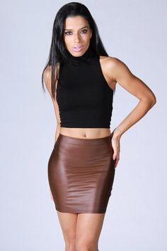 1015store.com-brown faux liquid leather pencil skirt-$15.00