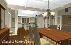 This house plan features an Open floor plan with coffered dining room ceiling
