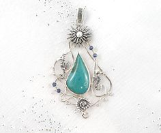 Nautical sterling silver pendant with gem by nataliasjewellery, $495.00