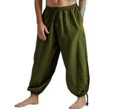 BAGGY PANTS FERN Green  Steampunk Pants Medieval Clothing