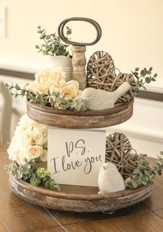 day decorations farmhouse Valentine's Day Ps I Love You Sign - Tiered Tray Sign- PS I Love You Mini Sign-Gray Valentine's Decor-Housewarming Gift - Gray Decor Her Wallpaper, Decoration Bedroom, Room Decor, Valentines Day Decorations, Deco Table, Spring Home, Tray Decor, Seasonal Decor, Rustic Decor