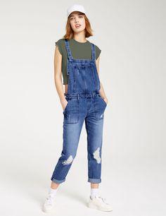 Salopette relax fit en jean medium blue femme • Jennyfer