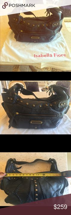 Isabella Fiore handbag Isabella Fiore Handbag, black leather studded, see pictures for great condition. Purchased at Neiman Marcus. Very spacious lots of interior/exterior pockets. Includes dustbag. See picture for approximate measurements Isabella Fiore Bags