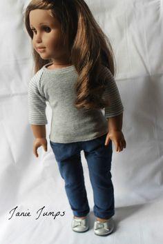 Baseball T-Shirt - Gray - American Girl Doll Clothes