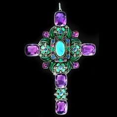 # SIBYL DUNLOP 1889-1968  An Opulent Double Sided Pectoral Cross   Silver Opal Chalcedony Amethyst Sapphire, British, c.1930