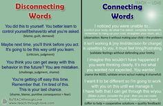 Connecting words (for more posotive life lessons) Peaceful Parenting, Gentle Parenting, Parenting Teens, Parenting Hacks, Practical Parenting, Mindful Parenting, Parenting Plan, Natural Parenting, Conscious Discipline