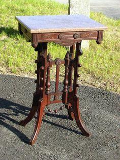 EASTLAKE WALNUT VICTORIAN MARBLE TOP TABLE C 1885