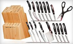 Miracle Blade World Class Series 18 Piece Set consist of 2 slicers, 1 carving knife, 1 Rock and Chef, 1 Chop and scoop, 1 filet knife, 1 cheese knife, 4 steak knives, 1 pairing knife, 1 pair of kitchen shears, A block and 4 additional steak knives packaged separately.  - http://kitchen-dining.bestselleroutlet.net/product-review-for-miracle-blade-world-class-series-18-piece-set-including-knife-block/