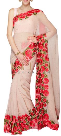 Light brown georgette saree with resham work and moti only on Kalki