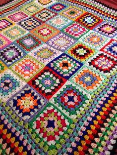 New Handmade Vintage Style Crocheted Granny Blanket