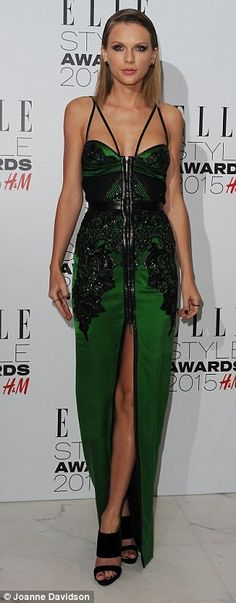 total departure from how taylor dresses generally!love the dress..not the makeup!