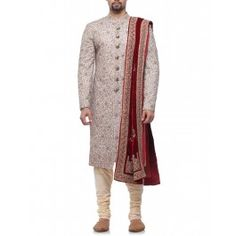 Peach Body Fit Sherwani