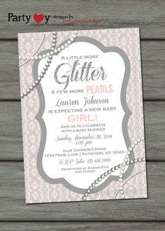 Pearls and Lace Baby Shower Invitation, Glitter Baby Shower Invitation, Girl Baby Shower Invitation, Shabby Chic Baby Shower Invitation