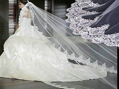 215v Elegant  Ivory Mantilla Embroidered Lace Work Edge 3m Bridal Wedding Veil