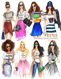 Fashion and Beauty Illustrator Rongrong DeVoe - Freelance Fashion Illustrator Based in Houston, TX. Fashion Dolls, Fashion Art, Girl Fashion, Fashion Design Sketches, Sketch Fashion, Chica Cool, Bff Drawings, Model Sketch, Illustration Sketches