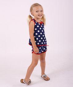 Navy & White Polka Dot Tank & Shorts - Toddler & Girls by Mia Belle Baby #zulily #zulilyfinds