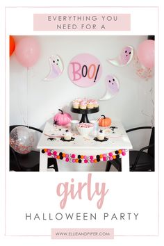 Looking to throw a halloween birthday party for your little girl's birthday party? We will share a variety of party decor items to create a fun non-spooky theme Halloween Theme Birthday, Costume Birthday Parties, Pink Halloween, Baby Girl Halloween, Girl Birthday Themes, Fall Birthday, Little Girl Birthday, Halloween Party Costumes, Halloween Party Decor