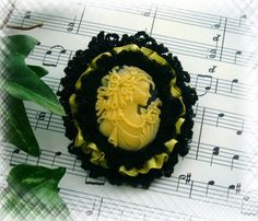 Victorian Young Lady Black Yellow Cameo Brooch by CraftsbySigita on Etsy