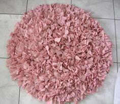 OOAK Hand Crochet Shag Rag Rug, Pink Shag Rug, Round Handmade Rug, Upcycled Shag Rug From Made Of Flaws