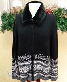 Croft Barrow Nordic Snowflake Chenille Sweater XL Black Classic Fun Party Comfy #CroftBarrow #Cardigan